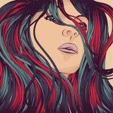 λεπτομερής γυναίκα τριχώ&m διανυσματική απεικόνιση