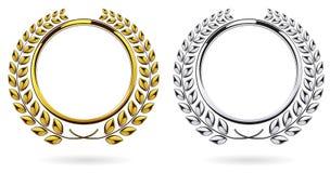 Λεπτομερής γύρω από το ασημένιο και χρυσό βραβείο στεφανιών δαφνών που τίθεται στο άσπρο υπόβαθρο Στοκ Εικόνα