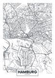 Λεπτομερής διανυσματικός χάρτης Αμβούργο πόλεων αφισών ελεύθερη απεικόνιση δικαιώματος