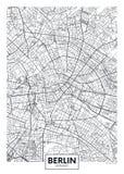 Λεπτομερής διανυσματικός χάρτης Βερολίνο πόλεων αφισών ελεύθερη απεικόνιση δικαιώματος