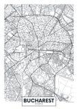 Λεπτομερής διανυσματικός χάρτης Βουκουρέστι πόλεων αφισών διανυσματική απεικόνιση
