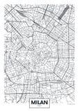 Λεπτομερής διανυσματικός χάρτης Μιλάνο πόλεων αφισών ελεύθερη απεικόνιση δικαιώματος