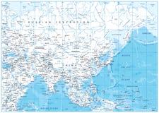 Λεπτομερής η Ασία χάρτης Στοκ εικόνα με δικαίωμα ελεύθερης χρήσης