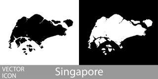 Λεπτομερής η Σιγκαπούρη χάρτης διανυσματική απεικόνιση