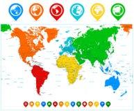 Λεπτομερής διανυσματικός παγκόσμιος χάρτης με τις ζωηρόχρωμα ηπείρους και το σημείο χαρτών Στοκ φωτογραφία με δικαίωμα ελεύθερης χρήσης