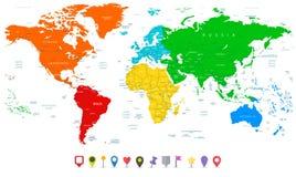 Λεπτομερής διανυσματικός παγκόσμιος χάρτης με τις ζωηρόχρωμες ηπείρους και επίπεδος χάρτης Στοκ φωτογραφία με δικαίωμα ελεύθερης χρήσης