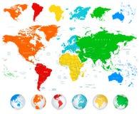 Λεπτομερής διανυσματικός παγκόσμιος χάρτης με τις ζωηρόχρωμες ηπείρους Στοκ Φωτογραφίες