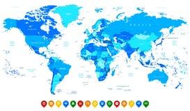 Λεπτομερής διανυσματικός παγκόσμιος χάρτης των μπλε χρωμάτων και ζωηρόχρωμος χάρτης pointe Στοκ Εικόνες