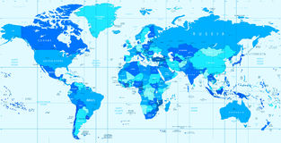 Λεπτομερής διανυσματικός παγκόσμιος χάρτης των μπλε χρωμάτων Στοκ φωτογραφία με δικαίωμα ελεύθερης χρήσης