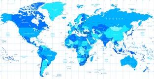 Λεπτομερής διανυσματικός παγκόσμιος χάρτης των μπλε χρωμάτων Στοκ Εικόνες