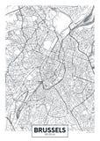 Λεπτομερής διανυσματικός χάρτης Βρυξέλλες πόλεων αφισών διανυσματική απεικόνιση