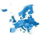Λεπτομερής διανυσματικός χάρτης Ευρώπη Στοκ Φωτογραφία