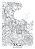 Λεπτομερής διανυσματικός χάρτης Doha πόλεων αφισών ελεύθερη απεικόνιση δικαιώματος
