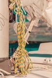 Λεπτομερής κινηματογράφηση σε πρώτο πλάνο των ξαρτιών στη βάρκα πανιών Στοκ φωτογραφίες με δικαίωμα ελεύθερης χρήσης