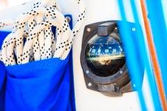 Λεπτομερής κινηματογράφηση σε πρώτο πλάνο των ξαρτιών στη βάρκα πανιών Στοκ φωτογραφία με δικαίωμα ελεύθερης χρήσης