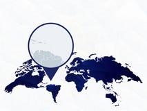 Λεπτομερής ο Άγιος Βικέντιος και Γρεναδίνες χάρτης που τονίζεται στον μπλε στρογγυλευμένο παγκόσμιο χάρτη διανυσματική απεικόνιση