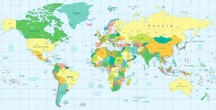 Λεπτομερής πολιτικός παγκόσμιος χάρτης Στοκ εικόνα με δικαίωμα ελεύθερης χρήσης