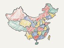 Λεπτομερής σχεδιαζόμενος χέρι χάρτης της Κίνας ελεύθερη απεικόνιση δικαιώματος