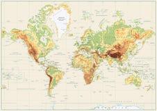 Λεπτομερής φυσικός παγκόσμιος χάρτης που απομονώνεται στο αναδρομικό άσπρο χρώμα διανυσματική απεικόνιση