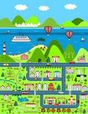 Λεπτομερής χάρτης κινούμενων σχεδίων με την πόλη, τα βουνά, και τη θάλασσα απεικόνιση αποθεμάτων