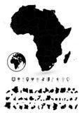 Λεπτομερής χάρτης της Αφρικής και του επίπεδου συνόλου ναυσιπλοΐας Στοκ φωτογραφίες με δικαίωμα ελεύθερης χρήσης