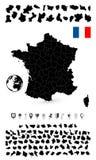 Λεπτομερής χάρτης της Γαλλίας και του επίπεδου συνόλου ναυσιπλοΐας Στοκ Εικόνα
