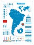 Λεπτομερής χάρτης της Νότιας Αμερικής με τα infograpchic στοιχεία Στοκ Εικόνες