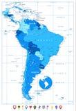 Λεπτομερής χάρτης της Νότιας Αμερικής στα χρώματα του μπλε και επίπεδου χάρτη Στοκ Εικόνα