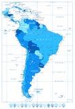 Λεπτομερής χάρτης της Νότιας Αμερικής στα χρώματα των δεικτών μπλε και χαρτών Στοκ φωτογραφίες με δικαίωμα ελεύθερης χρήσης