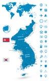 Λεπτομερής χάρτης της χερσονήσου της Κορέας με το σύνολο ναυσιπλοΐας παγκόσμιων χαρτών Στοκ φωτογραφίες με δικαίωμα ελεύθερης χρήσης