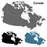 Λεπτομερής χάρτης του Καναδά στο γκρι, το Μαύρο και το μπλε Στοκ Εικόνα