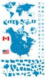 Λεπτομερής χάρτης των ΗΠΑ και του Καναδά με το σύνολο ναυσιπλοΐας παγκόσμιων χαρτών Στοκ Εικόνες