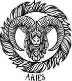 Λεπτομερής aries στο των Αζτέκων ύφος Στοκ Εικόνες
