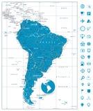 Λεπτομερή η Νότια Αμερική εικονίδια οδικών χαρτών και ναυσιπλοΐας Στοκ Εικόνες