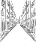 Λεπτομερή κτήρια στην οδό, διανυσματικό σχέδιο Στοκ Φωτογραφία