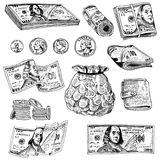 Λεπτομερή τραπεζογραμμάτια νομίσματος ή αμερικανικά πράσινα 100 δολάρια του Franklin ή μετρητά και νόμισμα χαραγμένο χέρι που σύρ ελεύθερη απεικόνιση δικαιώματος