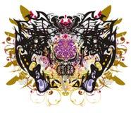 Λεπτομερή φτερά πεταλούδων με τα floral στοιχεία Στοκ εικόνα με δικαίωμα ελεύθερης χρήσης