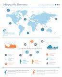 Λεπτομερή infographic στοιχεία που τίθενται με τη γραφική παράσταση παγκόσμιων χαρτών και το CH Στοκ Εικόνες