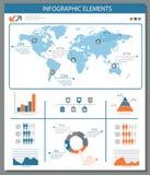 Λεπτομερή infographic στοιχεία που τίθενται με τη γραφική παράσταση παγκόσμιων χαρτών και το CH Στοκ φωτογραφίες με δικαίωμα ελεύθερης χρήσης