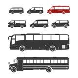 Λεπτομερείς σκιαγραφίες λεωφορείων καθορισμένες Στοκ εικόνες με δικαίωμα ελεύθερης χρήσης