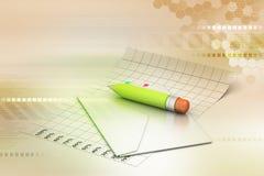 Λεπτομερείς φάκελος και μολύβι Στοκ Εικόνα