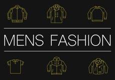 Λεπτό έμβλημα γραμμών μόδας ατόμων στο Μαύρο Στοκ Εικόνες