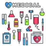 Λεπτό γραμμών ύφους υπόβαθρο έννοιας εικονιδίων ιατρικού εξοπλισμού καθορισμένο Διανυσματικό σχέδιο απεικόνισης Στοκ Εικόνες
