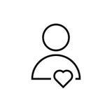 Λεπτό εικονίδιο χρηστών γραμμών με την καρδιά ελεύθερη απεικόνιση δικαιώματος