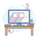Λεπτό επίπεδο σχέδιο γραμμών του σύγχρονου χώρου εργασίας γραφείων με τον υπολογιστή γραφείου με το κρίσιμο λάθος στοκ εικόνες με δικαίωμα ελεύθερης χρήσης