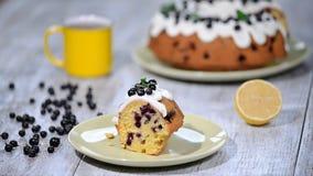 Λεπτό εύγευστο κέικ με τη μαύρη σταφίδα Κατανάλωση ενός κομματιού του κέικ με τη μαύρη σταφίδα απόθεμα βίντεο