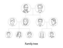 Λεπτό διάνυσμα ύφους γραμμών διαγραμμάτων οικογενειακών δέντρων Στοκ φωτογραφία με δικαίωμα ελεύθερης χρήσης