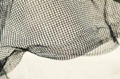 Λεπτό μαύρο πρόστιμο - πλέγμα με τα τσαλακωμένα κύματα στο άσπρο υπόβαθρο und Στοκ Φωτογραφία