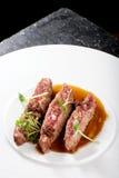 Λεπτό να δειπνήσει, λωρίδες του Angus Beef Steak Στοκ Εικόνα