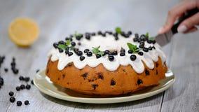 Λεπτό νόστιμο κέικ με τη μαύρη σταφίδα Κοπή του κέικ με τη μαύρη σταφίδα φιλμ μικρού μήκους